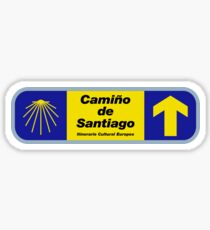Camino de Santiago Sign with Text, Spain Sticker