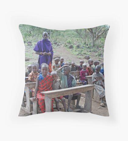 The Maasai School, Tanzania, Africa Throw Pillow