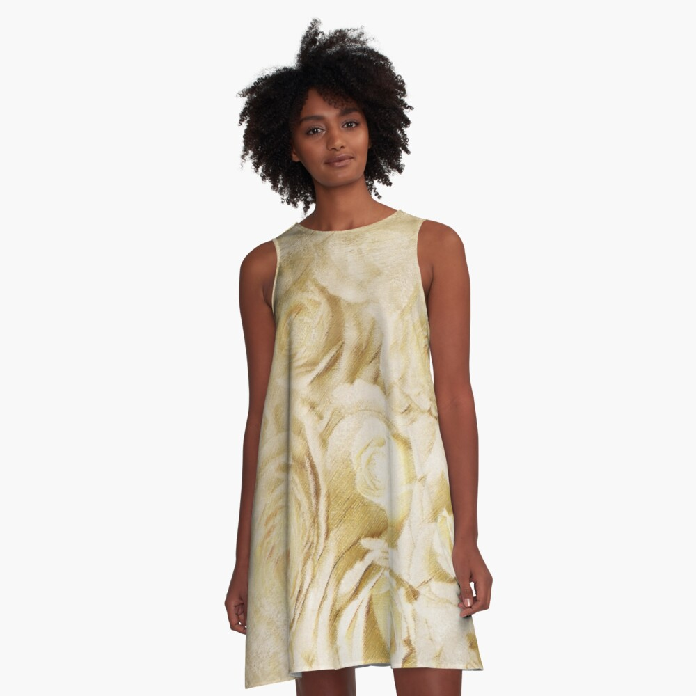Grunge White Roses A-Line Dress A-Line Dress Front