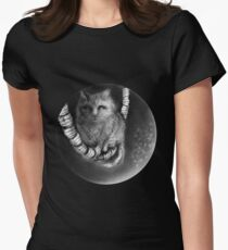 CIRCLE ART - CAT WALKS ON WIRE Womens Fitted T-Shirt