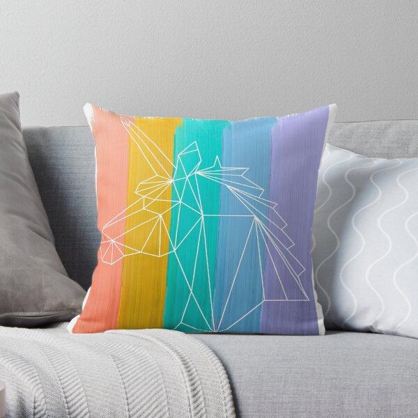Rainbow Unicorn  watercolor Art  Throw Pillow