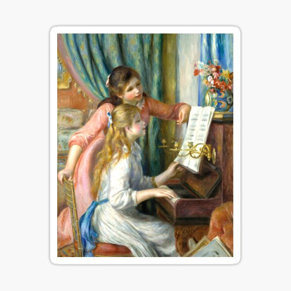 Two Young Girls at the Piano Sticker