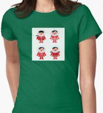 Cute eskimo children in red coat. Vector retro illustration T-Shirt