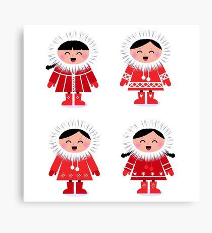 Cute eskimo children in red coat. Vector retro illustration Canvas Print