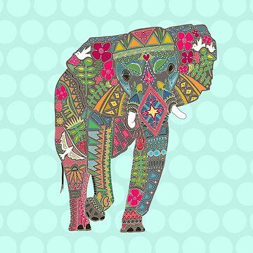 bemalter Elefant Aqua von scrummy