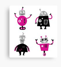 Cute cartoon robot characters. New arrivals in shop Canvas Print