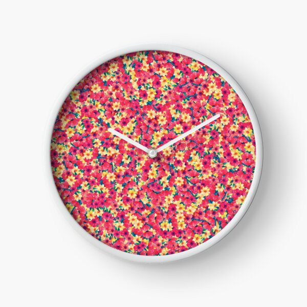 Nice Colorful Floral Pattern  Clock