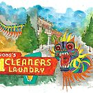 Wong's Laundry Building, Chinatown, Portland Oregon by dkatiepowellart