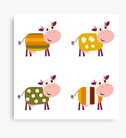 Vector collection of four happy creative Cow characters Canvas Print