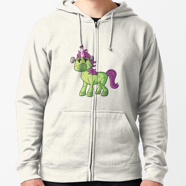 Zombie Unicorn Halloween Design Zipped Hoodie
