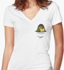 Too Many Birds! - Yellow-Sided Green Cheek Conure Women's Fitted V-Neck T-Shirt