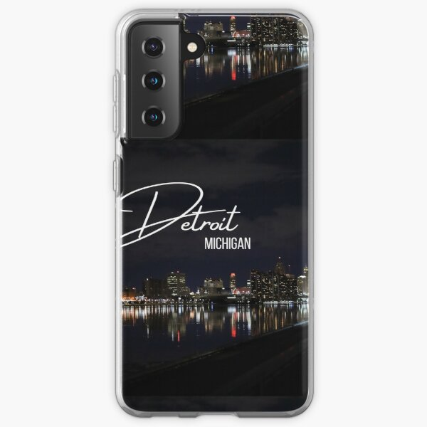 Downtown Detroit skyline at night / Detroit river photography at night Samsung Galaxy Soft Case