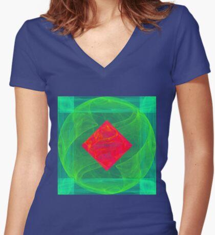 Antiquarian Pulsar infrared #fractal art Women's Fitted V-Neck T-Shirt
