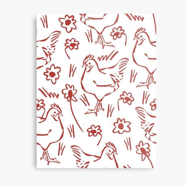 hen in daisy fields - pattern repeat Metal Print