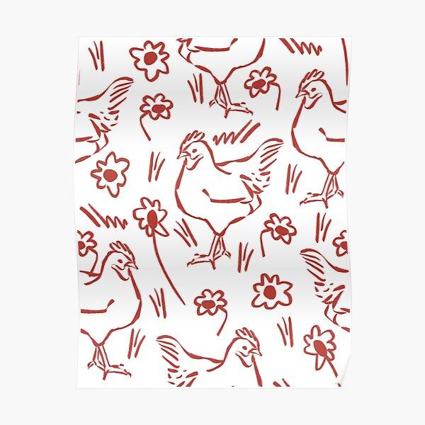 hen in daisy fields - pattern repeat Poster