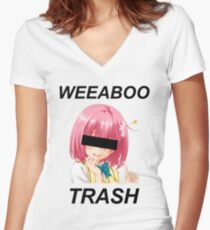 weeaboo trash Women's Fitted V-Neck T-Shirt