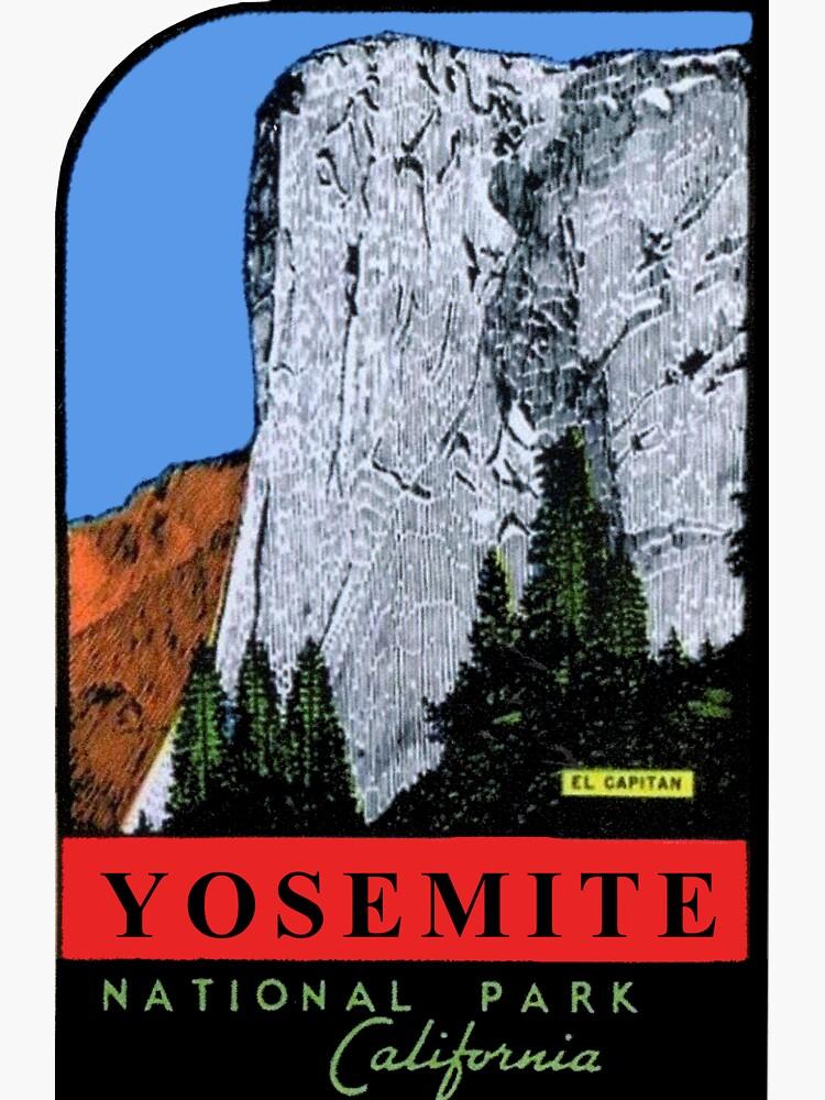Calcomanía de viaje vintage de El Capitan Yosemite National Park California de hilda74