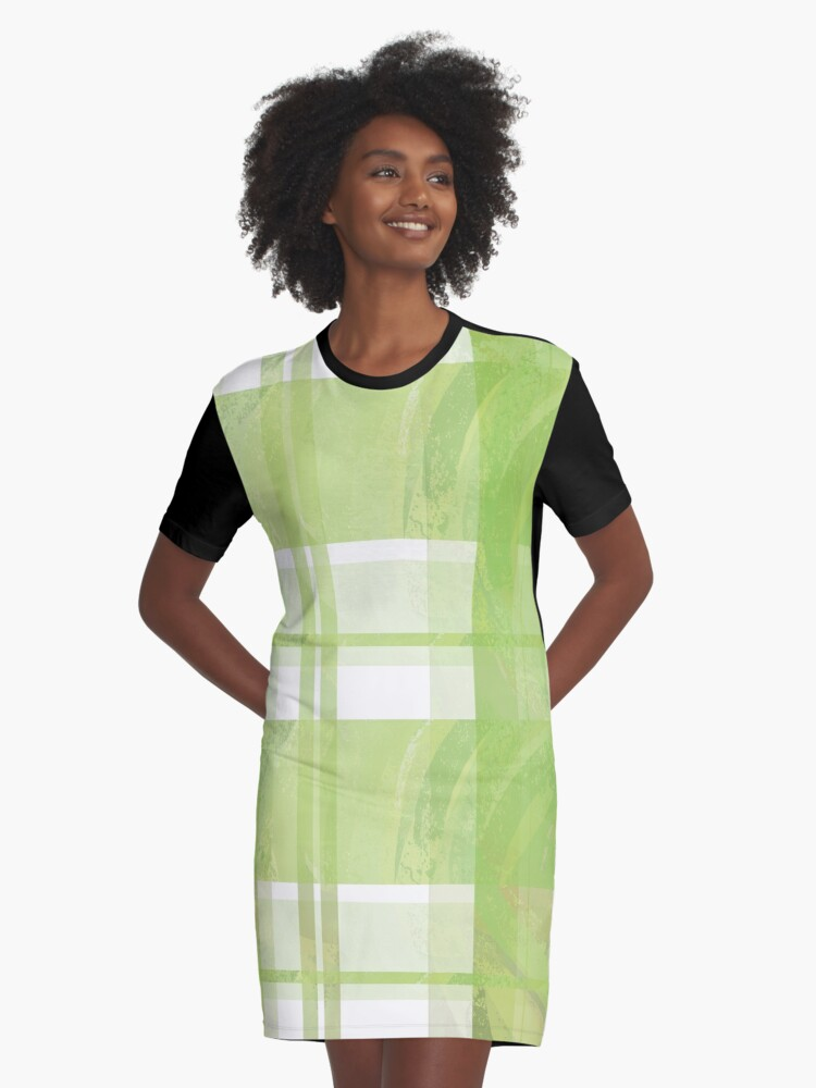 Madras Plaid Green  Graphic T-Shirt Dress Front