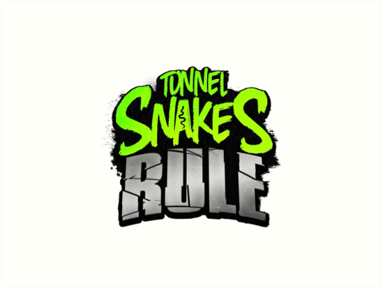 """""""Tunnel Snakes Rule"""" Cool Typography Videogame T-Shirt Design by doughballdesign"""