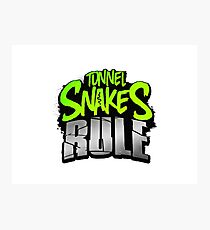 """Tunnel Snakes Rule"" Cool Typography Videogame T-Shirt Design Photographic Print"