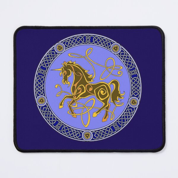 Celtic knotwork unicorn - blue and gold Mouse Pad