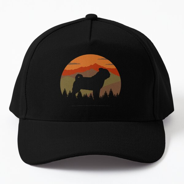 Vintage Sky Mountains Country Wilderness Pug Dog Gift  Baseball Cap