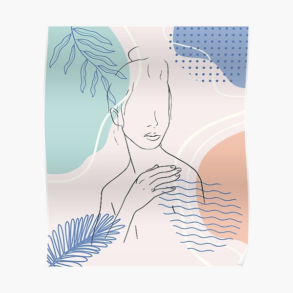 One line art woman girl portrait face with leaves simple minimalist vector illustration of beautiful woman continuous line drawing Poster