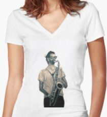 Romantic saxophone performer. Drawing of Street Musician. Illustration Women's Fitted V-Neck T-Shirt