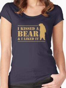 I Kissed A Bear And I Liked It Cool Hairy Grizzly Women's Fitted Scoop T-Shirt