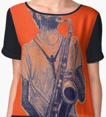 Romantic saxophone performer. Drawing of Street Musician. Illustration Women's Chiffon Top