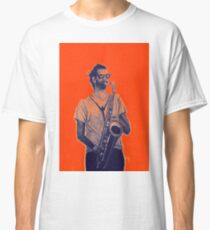 Romantic saxophone performer. Drawing of Street Musician. Illustration Classic T-Shirt