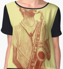 Romantic saxophone performer. Drawing of Street Musician. Illustration Women's Chiffon Top