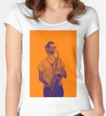 Romantic saxophone performer. Drawing of Street Musician. Illustration Women's Fitted Scoop T-Shirt