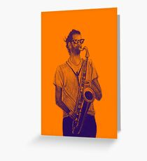 Romantic saxophone performer. Drawing of Street Musician. Illustration Greeting Card