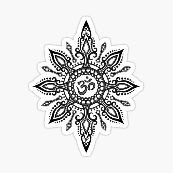 Intricate Yoga Om Star  Sticker
