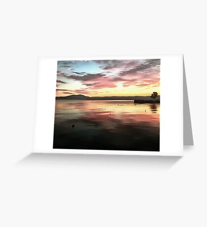 Sunset Reflected On Water Greeting Card