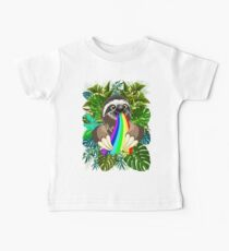 Sloth Spitting Rainbow Colors Baby Tee
