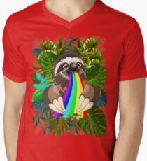 Sloth Spitting Rainbow Colors Men's V-Neck T-Shirt