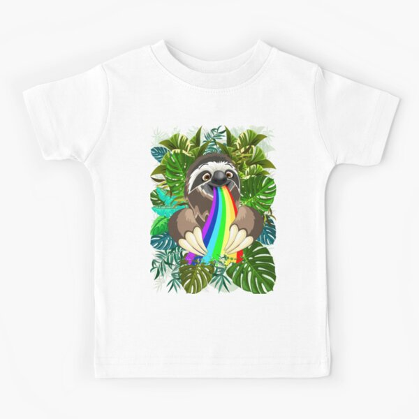 Sloth Spitting Rainbow Colors Kids T-Shirt