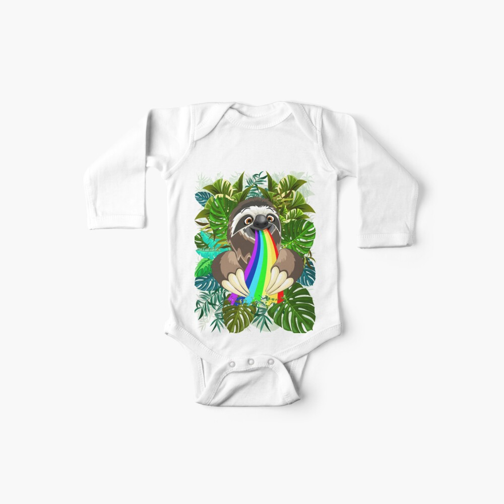 Sloth Spitting Rainbow Colors Baby One-Piece