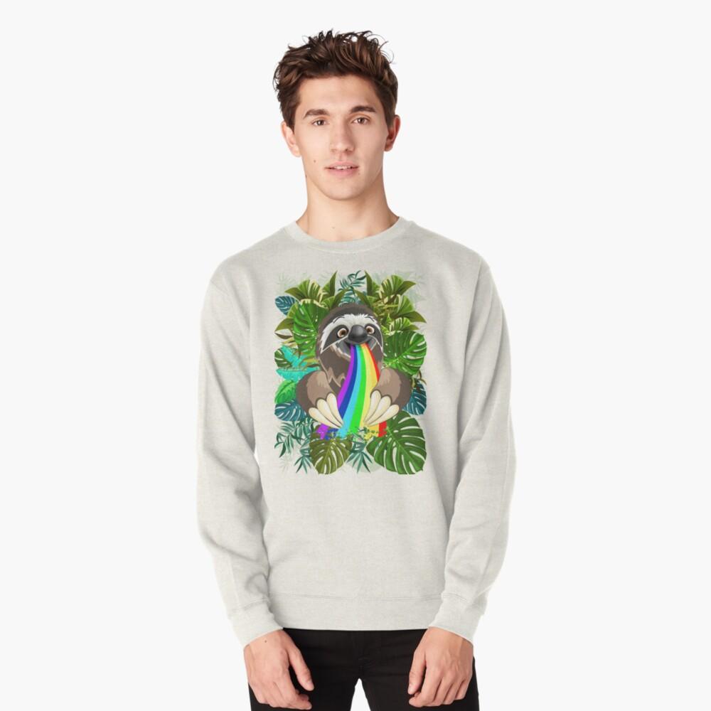 Sloth Spitting Rainbow Colors Pullover Sweatshirt