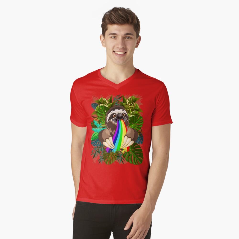 Sloth Spitting Rainbow Colors V-Neck T-Shirt