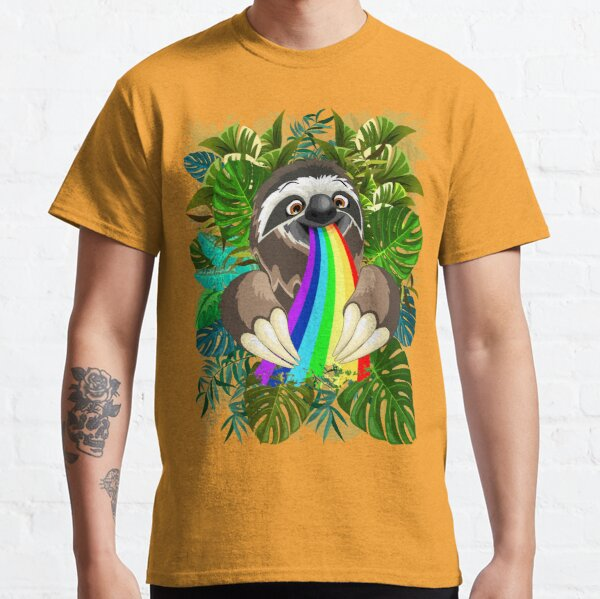Sloth Spitting Rainbow Colors Classic T-Shirt