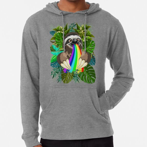 Sloth Spitting Rainbow Colors Lightweight Hoodie