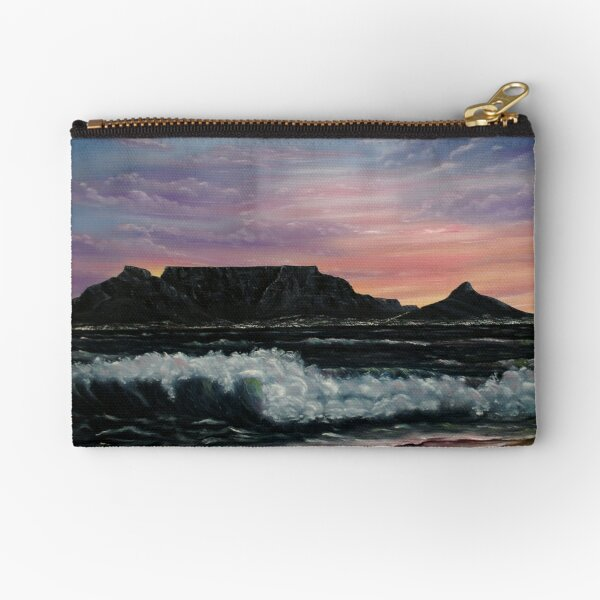 Sunset over Cape Town - Oil Painting Zipper Pouch