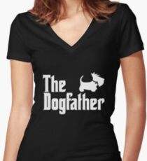 The Dogfather Copyright © BonniePortraits on Redbubble.com Women's Fitted V-Neck T-Shirt