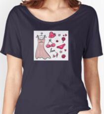 Vector doodle set of pink fashion accessories / old-fashion dots Women's Relaxed Fit T-Shirt