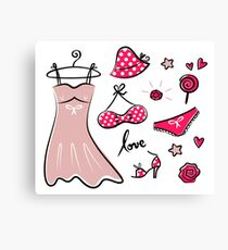 Vector doodle set of pink fashion accessories / old-fashion dots Canvas Print