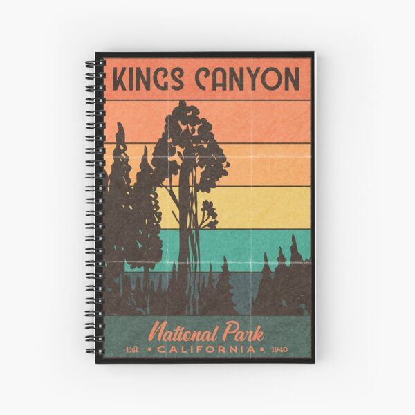 Kings Canyon National Park Retro Sunset Spiral Notebook