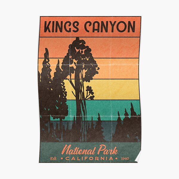 Kings Canyon National Park Retro Sunset Poster